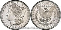 Photo of Morgan Silver Dollar in almost uncirculated (AU53) condition/grade.