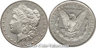 Photo of Morgan Silver Dollar in almost uncirculated (AU58) condition/grade.