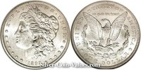 Photo of Morgan Silver Dollar in mint state (MS60) condition/grade.