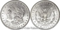 Photo of Morgan Silver Dollar in mint state (MS65) condition/grade.