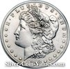 Photo of Morgan Silver Dollar coin obverse that has been tooled